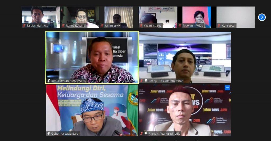 Silaturahmi virtual Gubernur Jawa Barat, Ridwan Kamil dengan AMSI Jawa Barat.